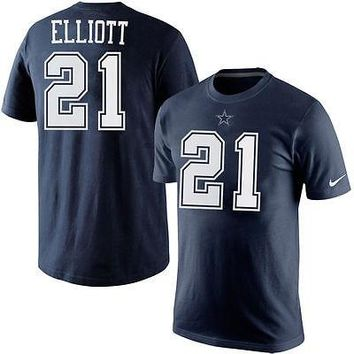 Ezekiel Elliott  21 Dallas Cowboys Nike Navy NFL Player Pride Men s T-Shirt 93ee34834