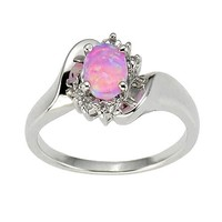 925 Sterling Silver Synthetic Pink Opal Women's Wedding Engagement Ring SPJ