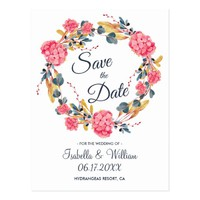Floral Pink Hydrangeas Bouquet Save the Date Postcard
