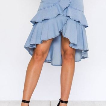 Ruffled Denim Midi Skirt