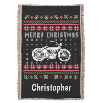 Vintage Motorcycle Ugly Christmas Sweater Throw Blanket