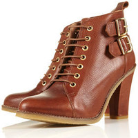 ABBEY Lace Up Gold Trim Boots -/ Topshop USA