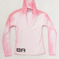 BA - Pink to White - Women's Color Changing Hooded Half Zip -