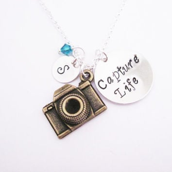 Personalized Camera Necklace, initial necklace, photography necklace, photographer gift, camera jewelry, birthstone necklace, Capture Life