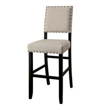 SANIA II Rustic Counter Height Chair, Antique Black Finish, Set of 2