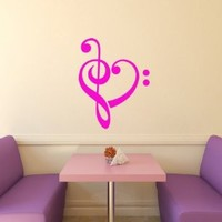 Housewares Vinyl Decal Bass And Treble Clef Heart Music Home Wall Art Decor Removable Stylish Sticker Mural Unique Design for Room