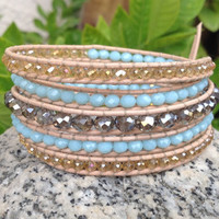 "BraceletsForMe ""Fresh"" 5 Wrap Bracelet Light Natural Leather with Peru Crystals, Light Turquoise Crystals & Steel Blue Crystals"
