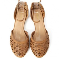 Bamboo Lynna-61 Cut Out Ankle Strap Flats | MakeMeChic.com