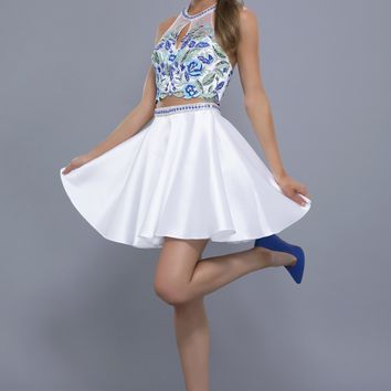Blue and White Floral Print Dress