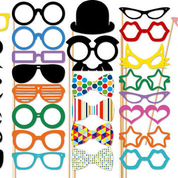 Wedding Photo Booth Party  40 Piece Set  by PartyGoodies on Etsy