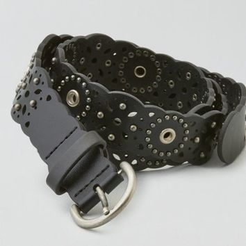 AEO Women's Studded & Perforated Belt (Black)