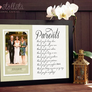 Parents Wedding Gift - Parents Thank You gift Wedding, Gift for Parents of the Bride, Parents of the Groom gift, Custom Wedding Gift