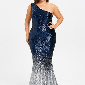 Blue and Grey Plus Size Sequined Plus Size Dress