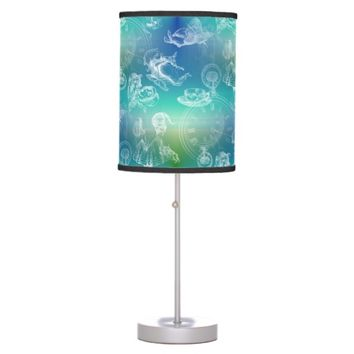 Alice in Wonderland Tea Time Blue Green Lamp