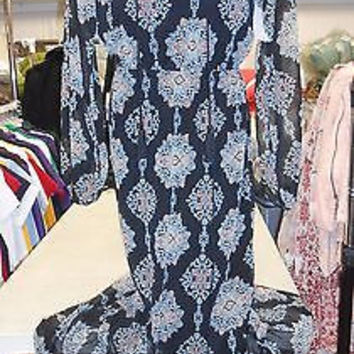 Mossimo Long Vintage Hobo Dress, X-Small, Black Filigree Print