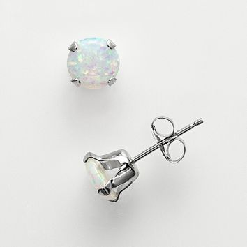10k White Gold Lab-Created Opal Stud Earrings