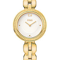 Fendi - Fendi My Way Fox Fur & Goldtone PVD Stainless Steel Bracelet Watch - Saks Fifth Avenue Mobile