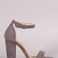 Suede Open Toe Ankle Strap Chunky Heel