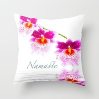 Namasta White And Pink Orchids Throw Pillow by Daphsam | Society6