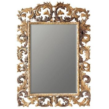 GM Luxury Herbert Full Length Decorative Wall Art Hand Carved Mirror, Solid Wood 55x82.7