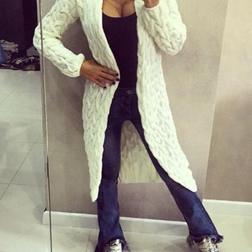 White Long Sleeve Acrylic Fashion Cardigan Sweater