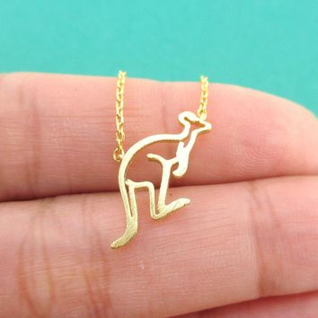 Kangaroo Outline Shaped Pendant Necklace in Gold
