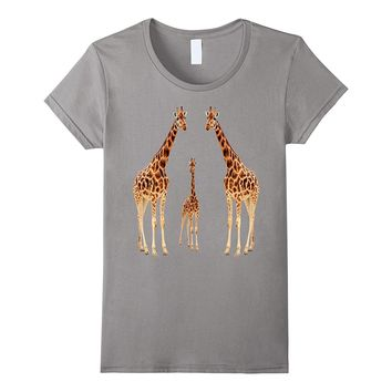 Giraffe t shirt love relationship and family funny tees