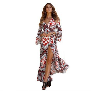 cf9d440a4d19 Boho Long dress summer sexy split womens floral fashion V Neck f