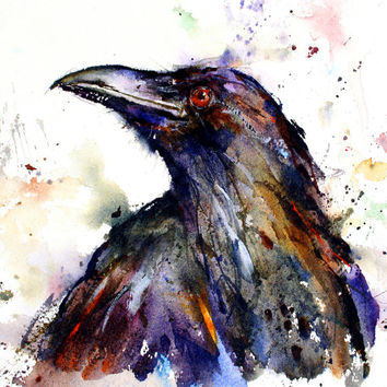 RAVEN Extra Large Watercolor Print by Dean Crouser