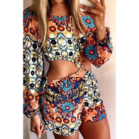 Sexy Scoop Neck Long Sleeve Printed Romper For Women