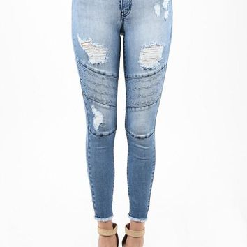 KanCan Light Moto Ankle Skinny Jean