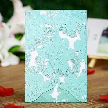12PCS/lot Tiffany blue Laser Cut Flower Wedding Invitation Cards with Insert Paper Blank Engagement Card Souvenirs Wedding Decor