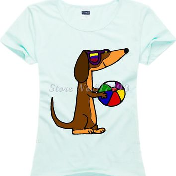 New Casual Print Women's T-shirt Dachshund Cotton Short Sleeve O-Neck Tops Female Tees Shirts Hipster Clothing JD02