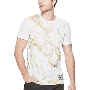 Lak Metallic Marbled Tee at Guess
