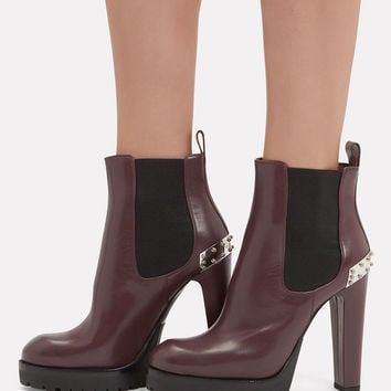 Burgundy Leather Platform Booties