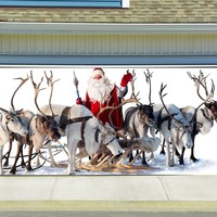 Christmas Garage Door Cover Banners 3d Santa Holiday Outside Decorations Outdoor Decor for Garage Door G26