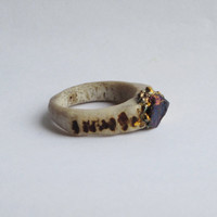 Carnivale Carved Antler Ring featuring Raw Chalcopyrite by WhiteAether Size 6, 6.5, 7