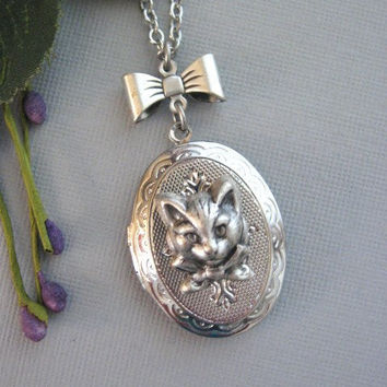 Cat and Bow Locket Necklace in Silver by liliswan on Etsy