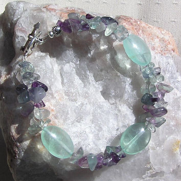 "Fluorite Crystal Gemstone Bracelet  - ""Green Delight"""