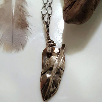 Feather Charm Necklace, Sterling Silver, Brass, Tribal Necklace, Layering Pendant, Bird Wing, Nature Jewelry, Baby Bird Feather Jewellery