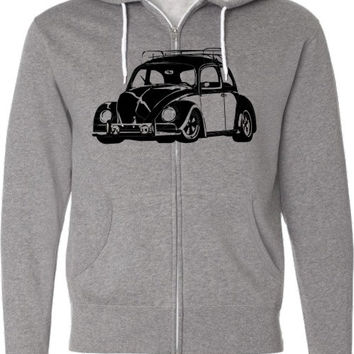 Volkswagen Beetle Car Shirt-Retro VW Bug- Zippered Hooded Sweatshirt in Grey