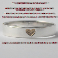 VALENTINES DAY GIVEAWAY <3 Sterling silver gold heart w carved heart inside