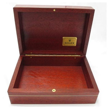 Vintage ROLEX brown wood watch box, can be collectible, jewelry, treasure box. Montress ROLEX SA 69.00.09