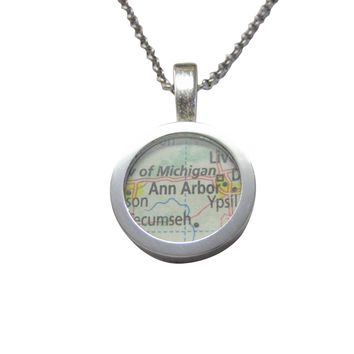 Ann Arbor Michigan Map Pendant Necklace