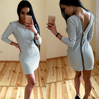 Stripe Zip-Back Long-Sleeve Bodycon Dress