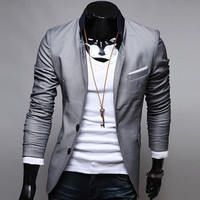 2013 Trendy New Stylish Men's Casual Slim fit 3 Buttons Suit Blazer Coat Jackets
