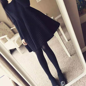 Loose Casual Solid Color Long Sleeve Scoop Neck Mini Dress