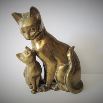 Unusual Rare Beautiful Large Vintage Cat/Kitten Brass Figurine /MEMsArtShop.