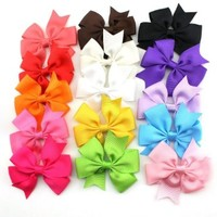 Habi 15pcs Boutique Toddler Baby Girl Grosgrain Ribbon Hair Bows Without Clips