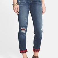 Junior Women's SP Black Destroyed Boyfriend Jeans with Plaid Details